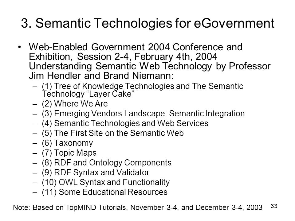 3. Semantic Technologies for eGovernment