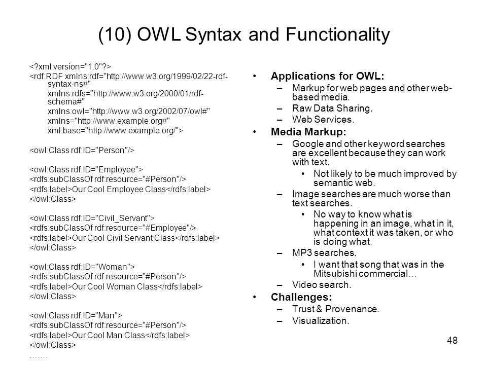 (10) OWL Syntax and Functionality