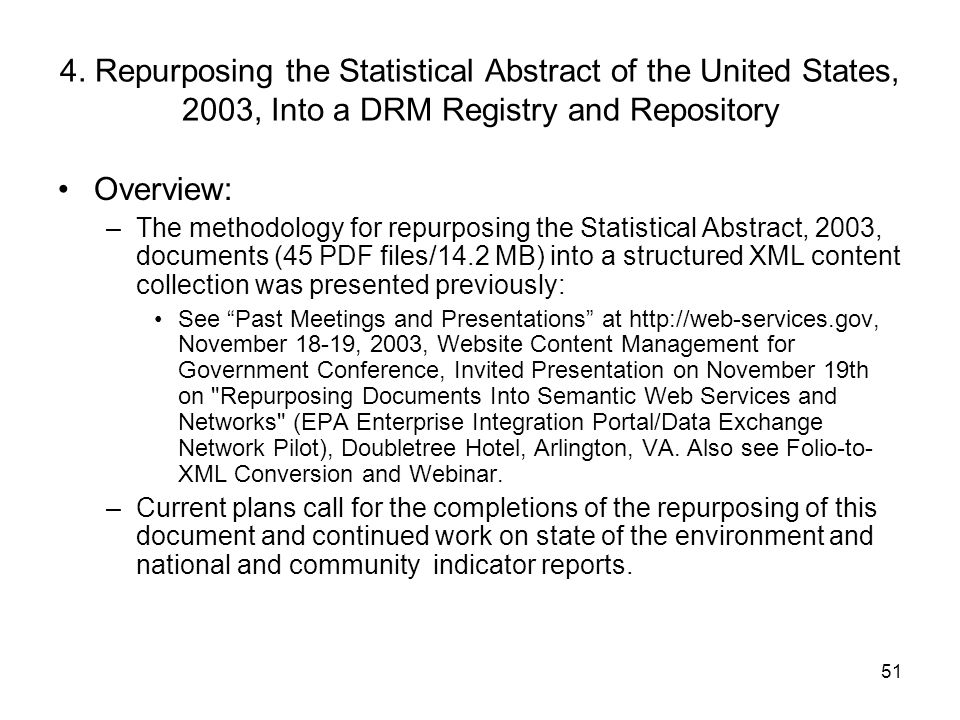 4. Repurposing the Statistical Abstract of the United States, 2003, Into a DRM Registry and Repository