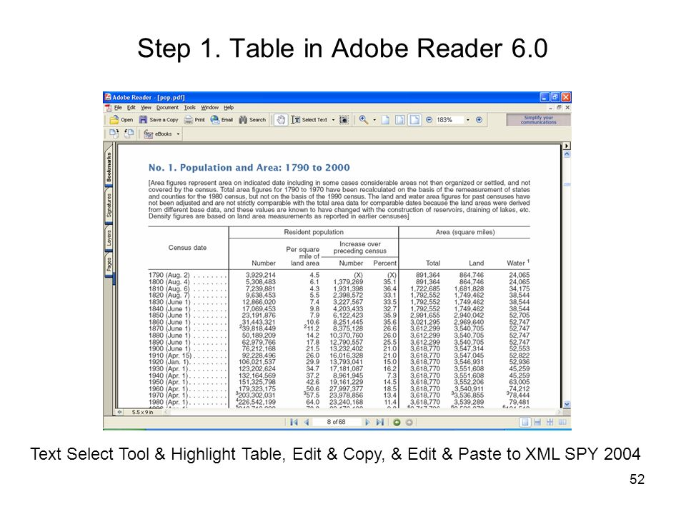 Step 1. Table in Adobe Reader 6.0