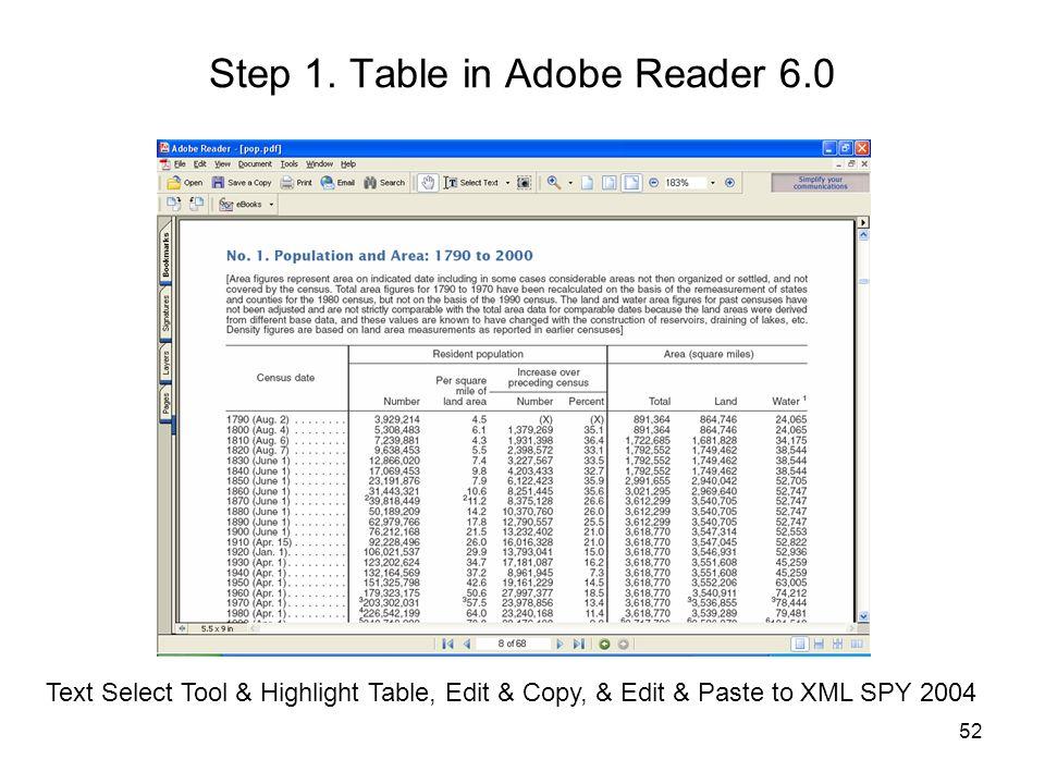 Step 1. Table in Adobe Reader 6.0
