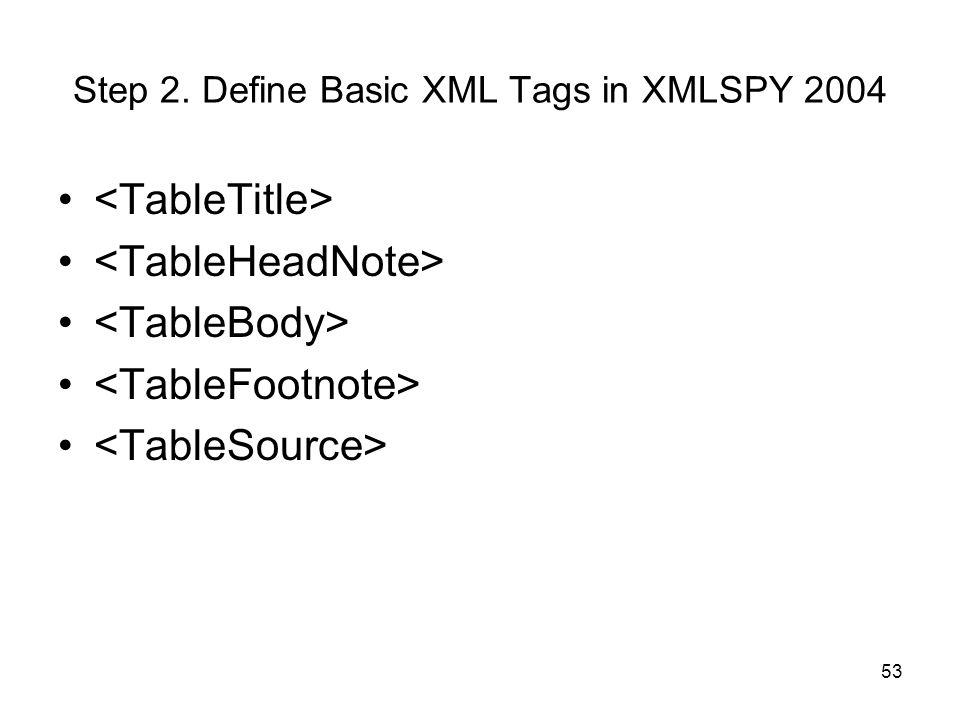 Step 2. Define Basic XML Tags in XMLSPY 2004