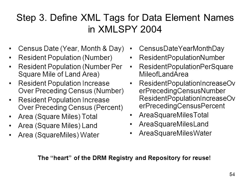Step 3. Define XML Tags for Data Element Names in XMLSPY 2004