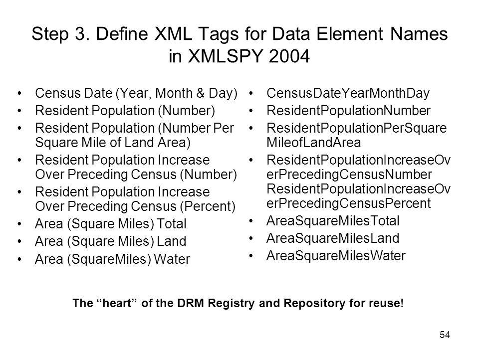 Step 3. Define XML Tags for Data Element Names in XMLSPY 2004