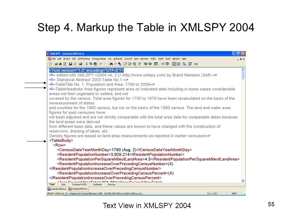 Step 4. Markup the Table in XMLSPY 2004