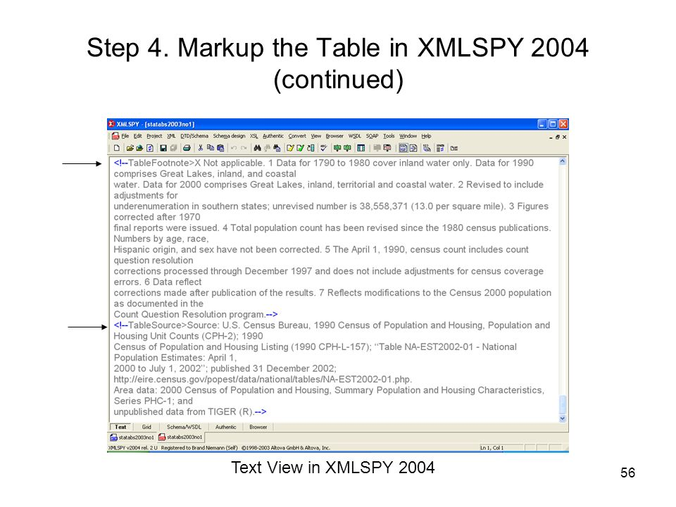 Step 4. Markup the Table in XMLSPY 2004 (continued)