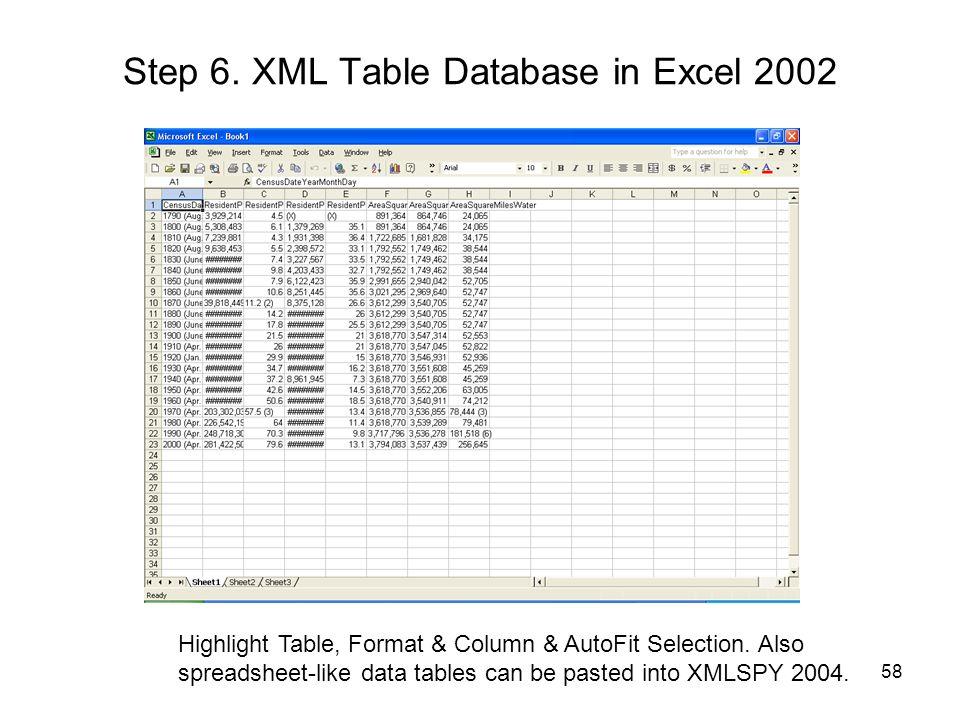 Step 6. XML Table Database in Excel 2002