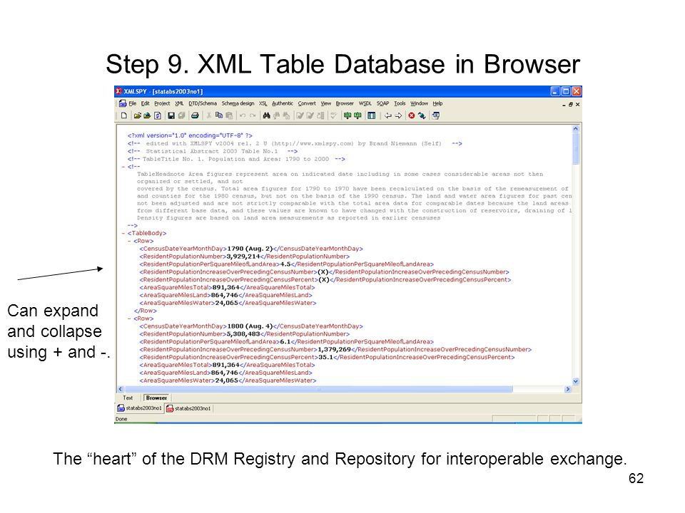 Step 9. XML Table Database in Browser