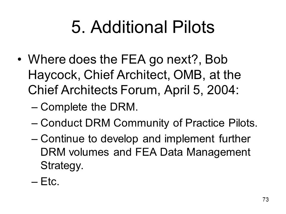 5. Additional Pilots Where does the FEA go next , Bob Haycock, Chief Architect, OMB, at the Chief Architects Forum, April 5, 2004: