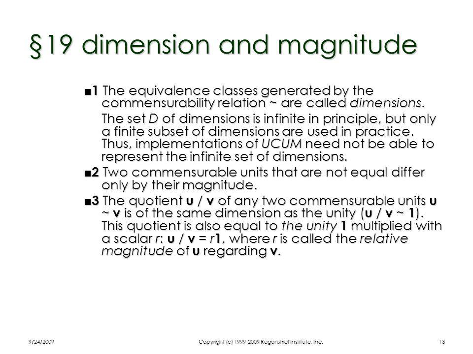 §19 dimension and magnitude