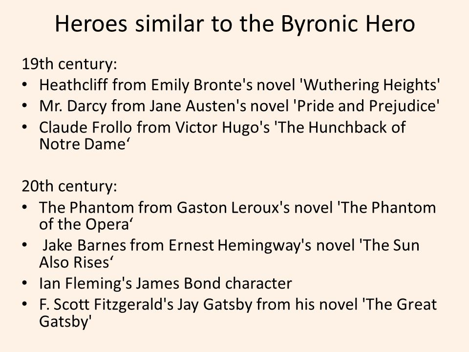 the byronic hero essay The byronic hero is a variant of the romantic hero as a type of character, named after the english romantic poet lord byron although there are traits and characteristics that exemplify the type, both byron's own persona as well as characters from his writings are considered to provide defining features.