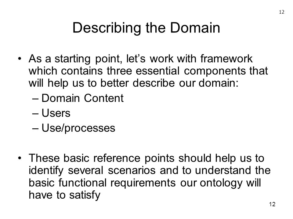 Describing the Domain 12.