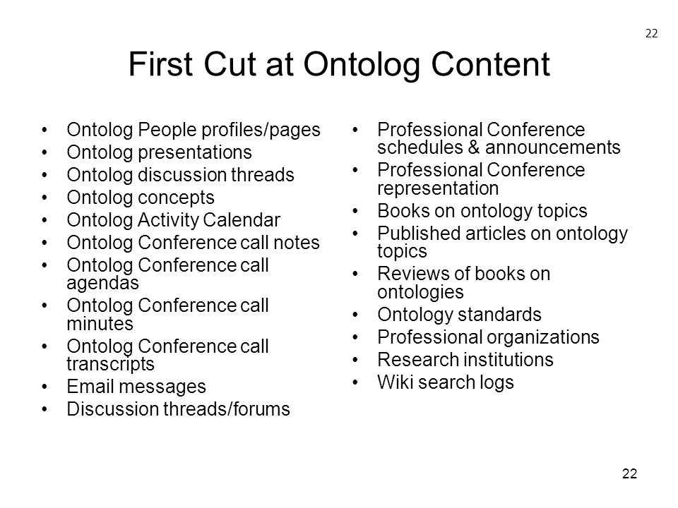 First Cut at Ontolog Content