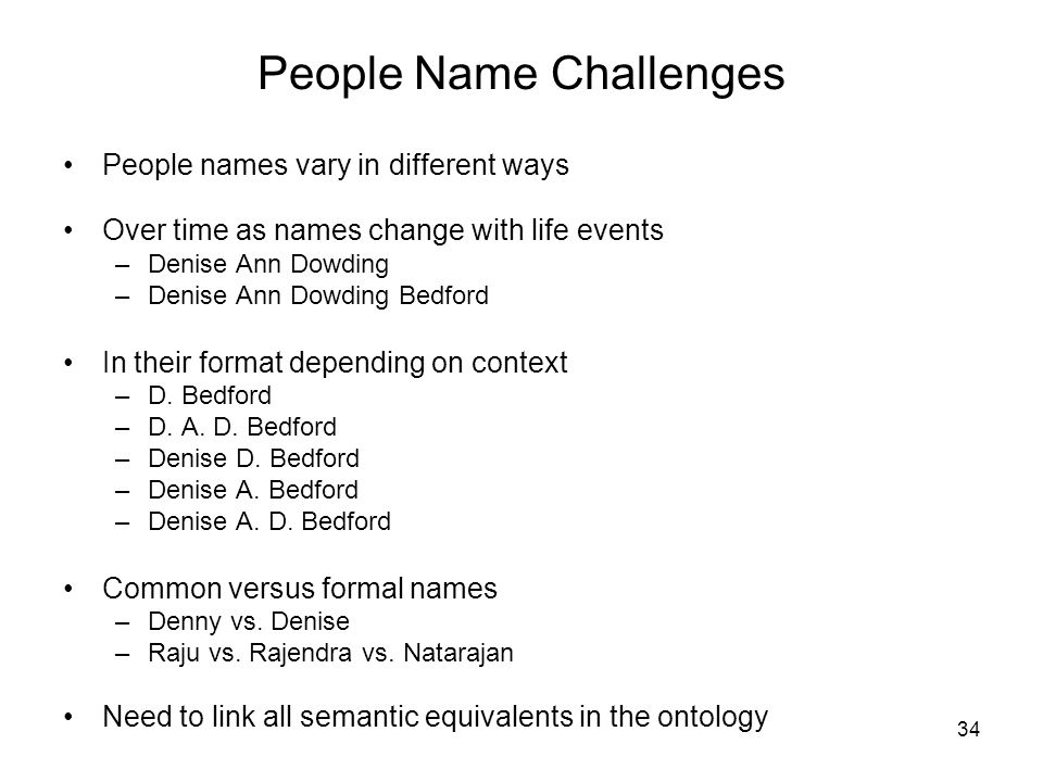 People Name Challenges
