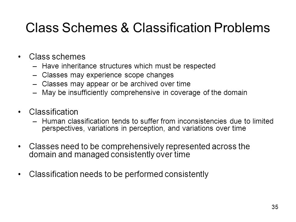 Class Schemes & Classification Problems