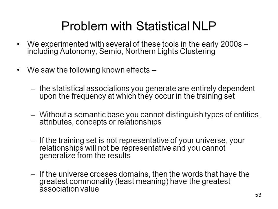 Problem with Statistical NLP