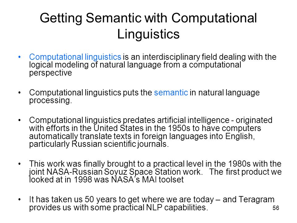 Getting Semantic with Computational Linguistics