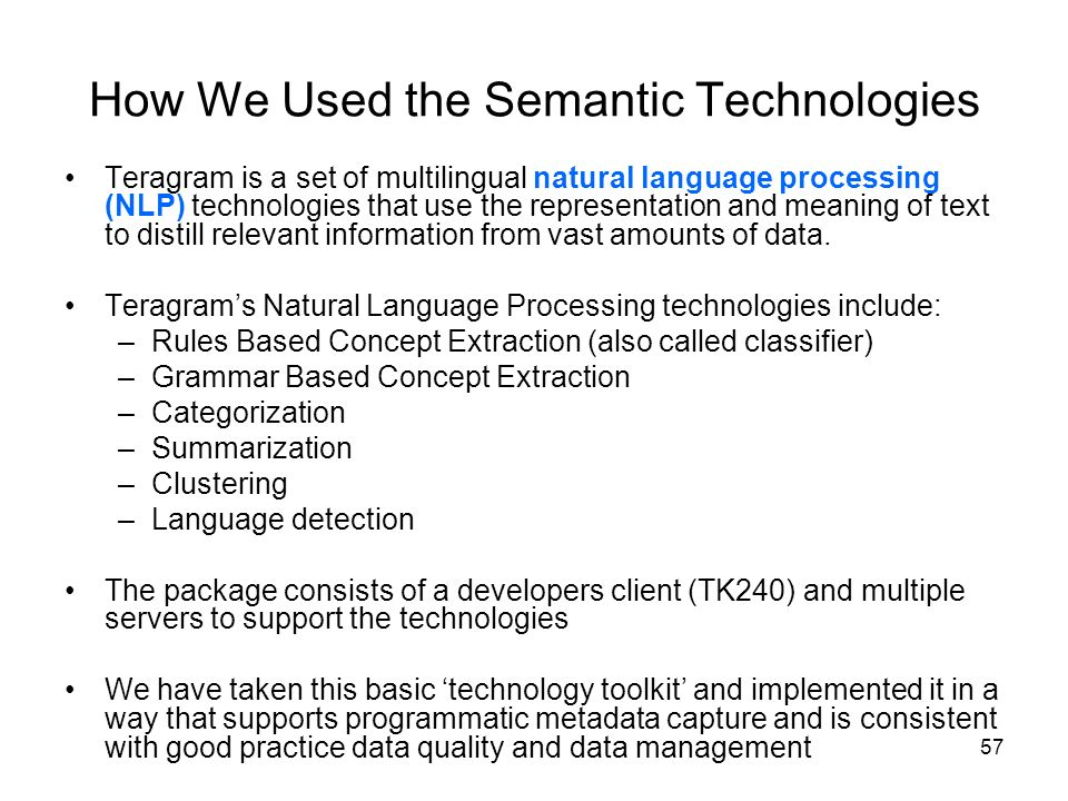 How We Used the Semantic Technologies