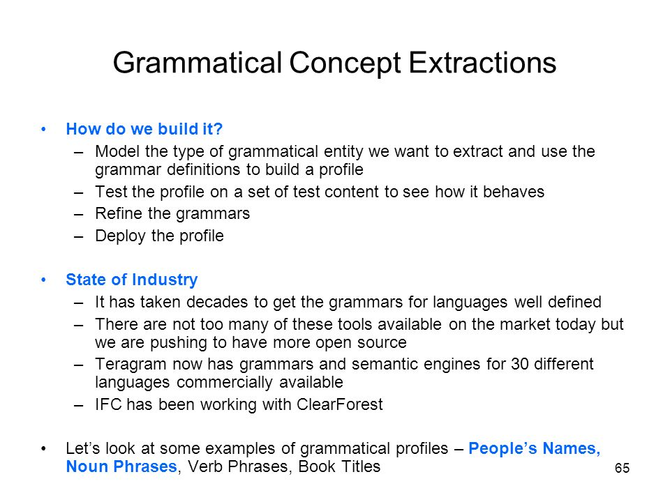 Grammatical Concept Extractions