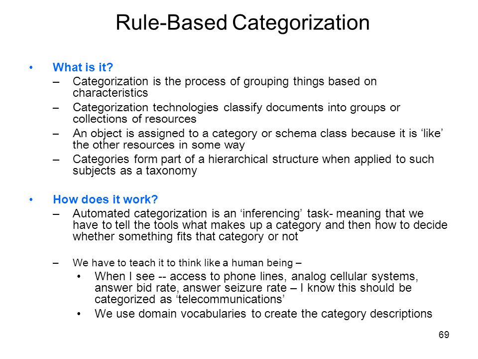 Rule-Based Categorization