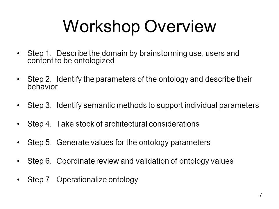 Workshop Overview Step 1. Describe the domain by brainstorming use, users and content to be ontologized.