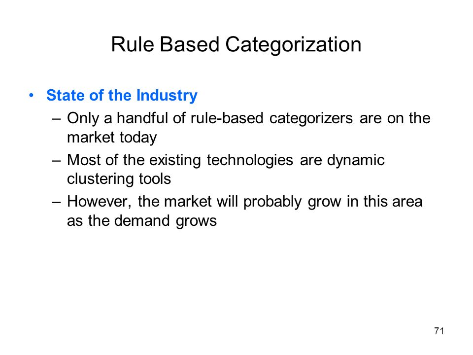 Rule Based Categorization
