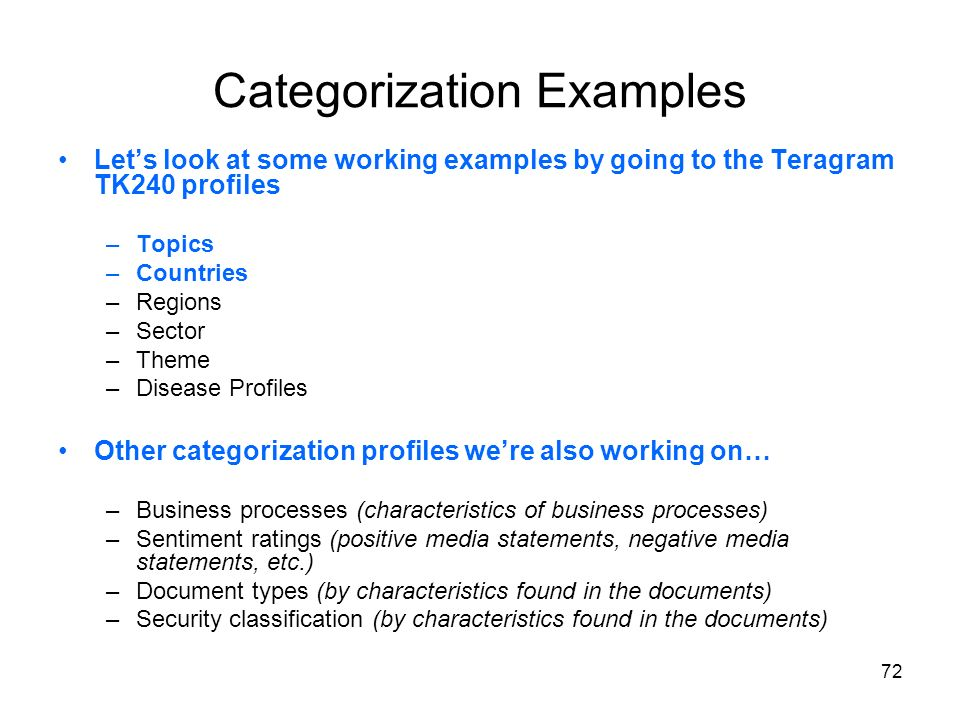 Categorization Examples