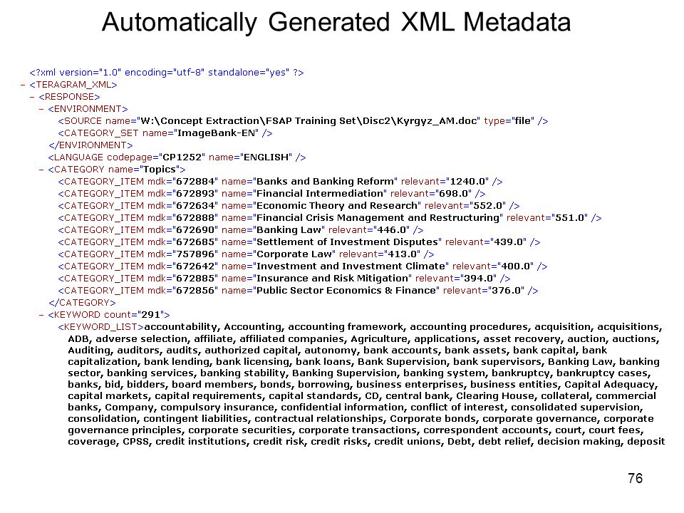 Automatically Generated XML Metadata