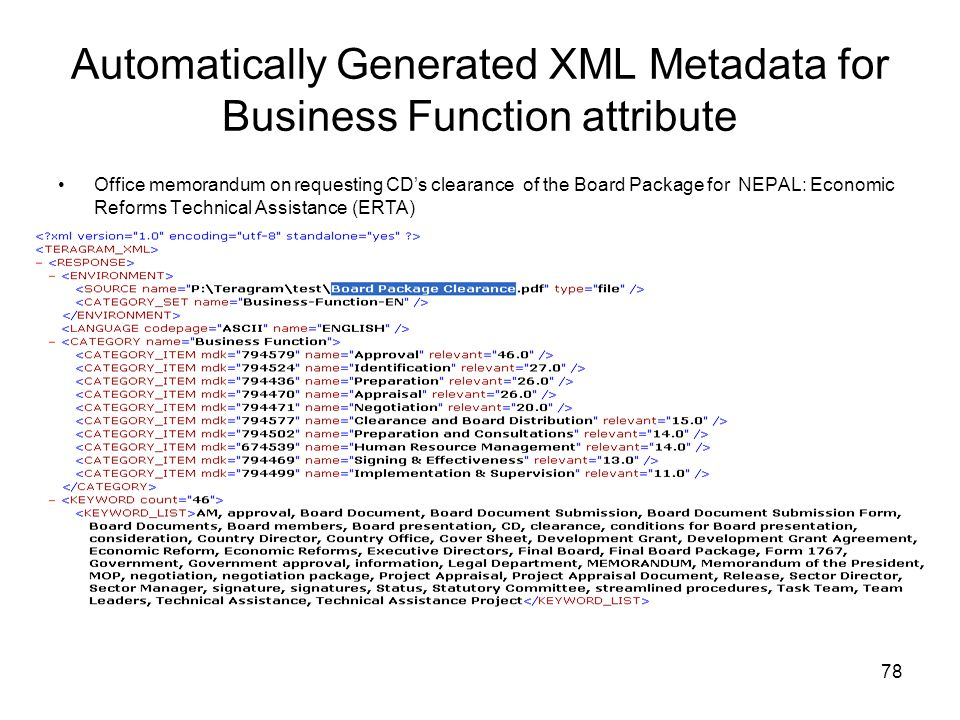 Automatically Generated XML Metadata for Business Function attribute