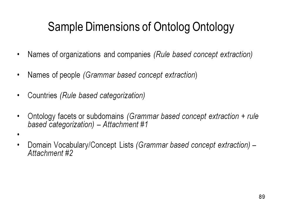 Sample Dimensions of Ontolog Ontology