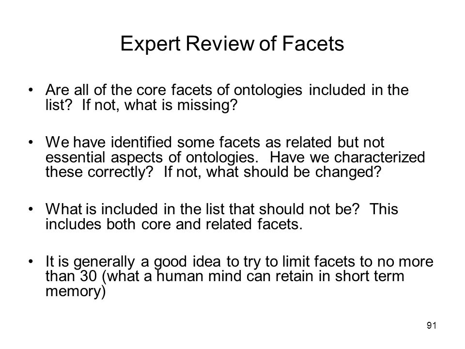 Expert Review of Facets