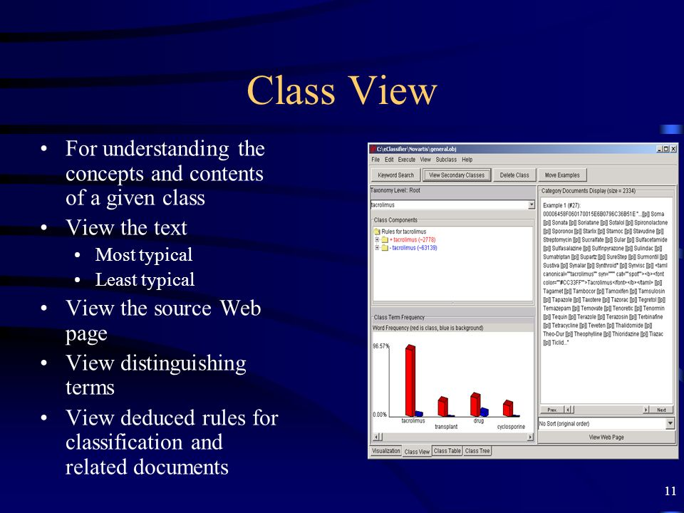 Class View For understanding the concepts and contents of a given class. View the text. Most typical.