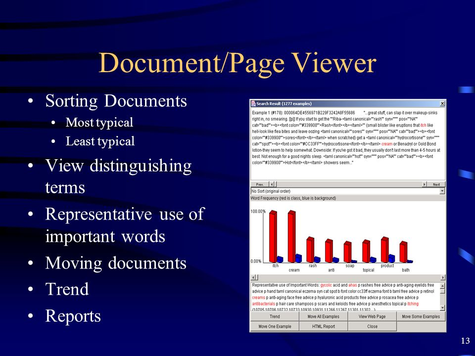 Document/Page Viewer Sorting Documents View distinguishing terms