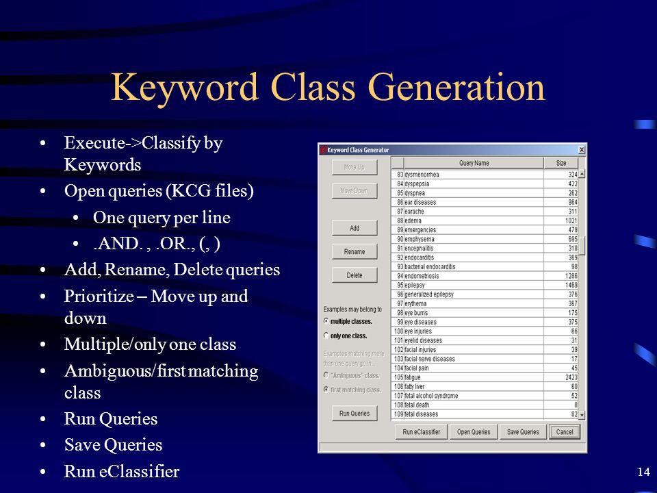 Keyword Class Generation