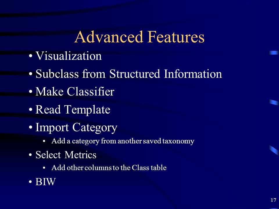 Advanced Features Visualization Subclass from Structured Information