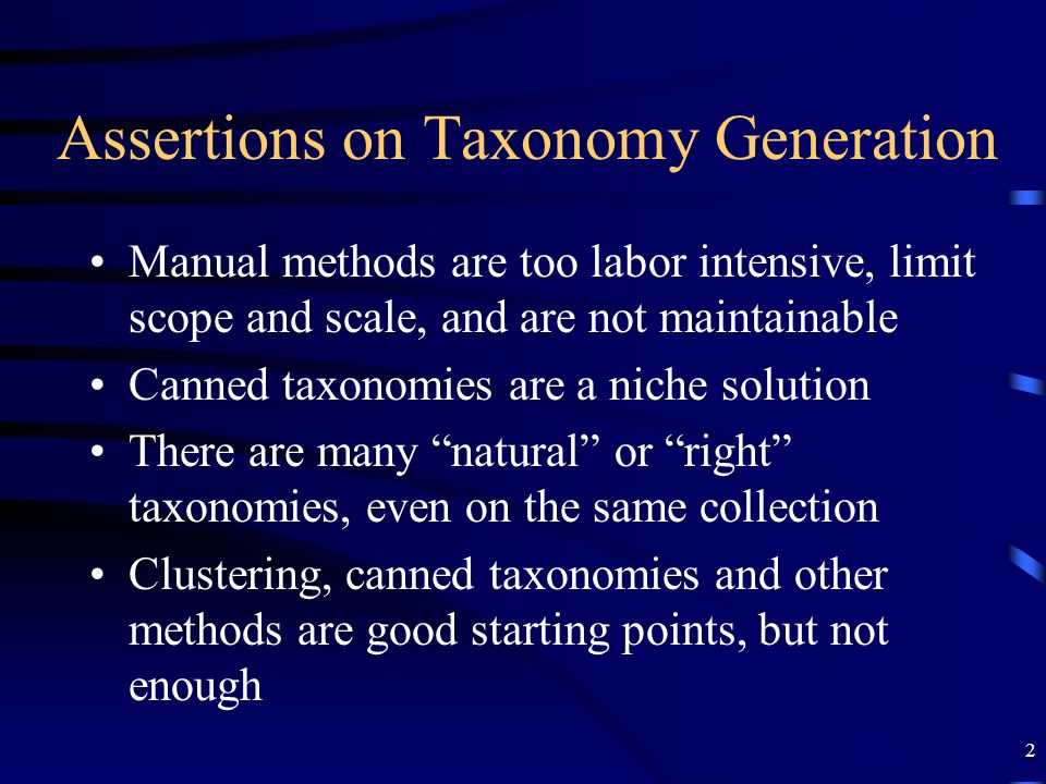 Assertions on Taxonomy Generation
