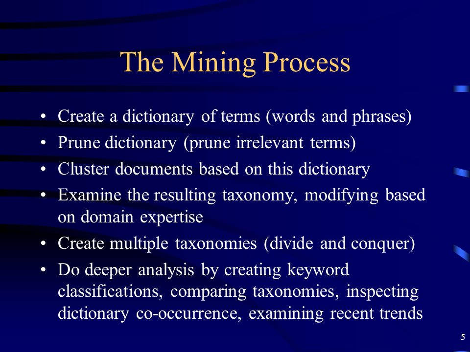 The Mining Process Create a dictionary of terms (words and phrases)