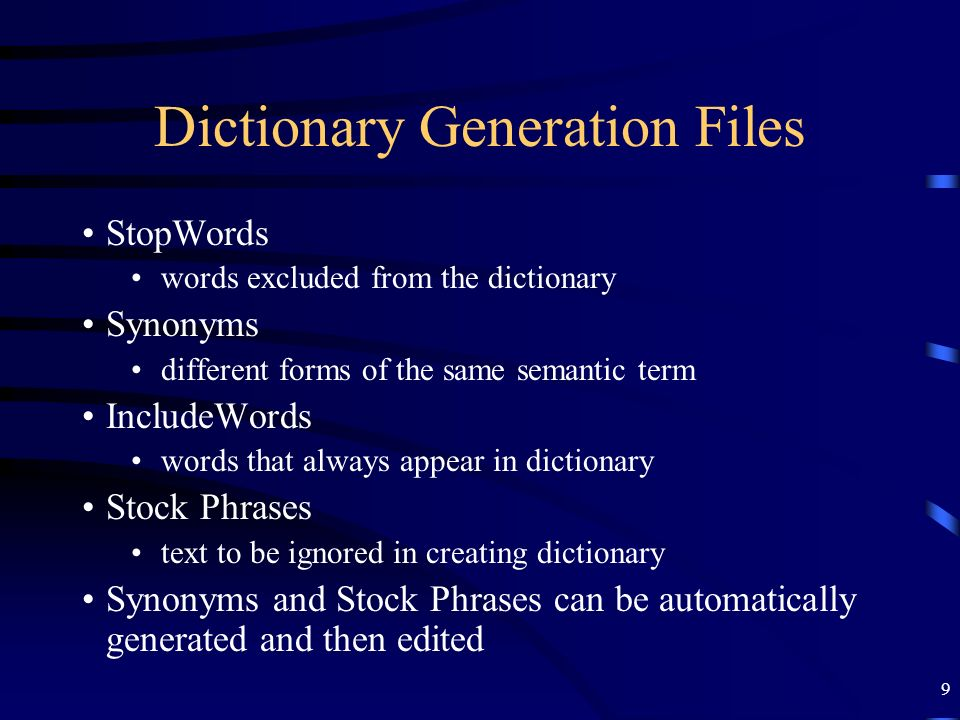 Dictionary Generation Files