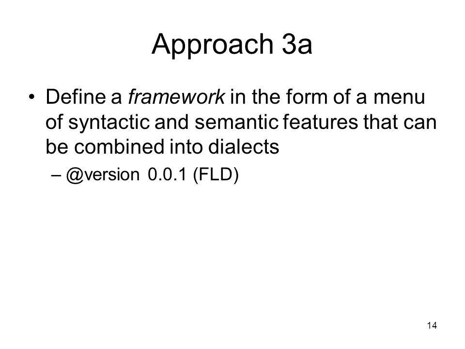 Approach 3a Define a framework in the form of a menu of syntactic and semantic features that can be combined into dialects.