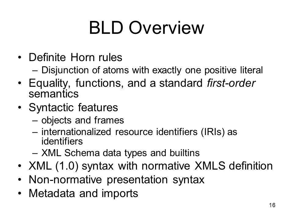 BLD Overview Definite Horn rules