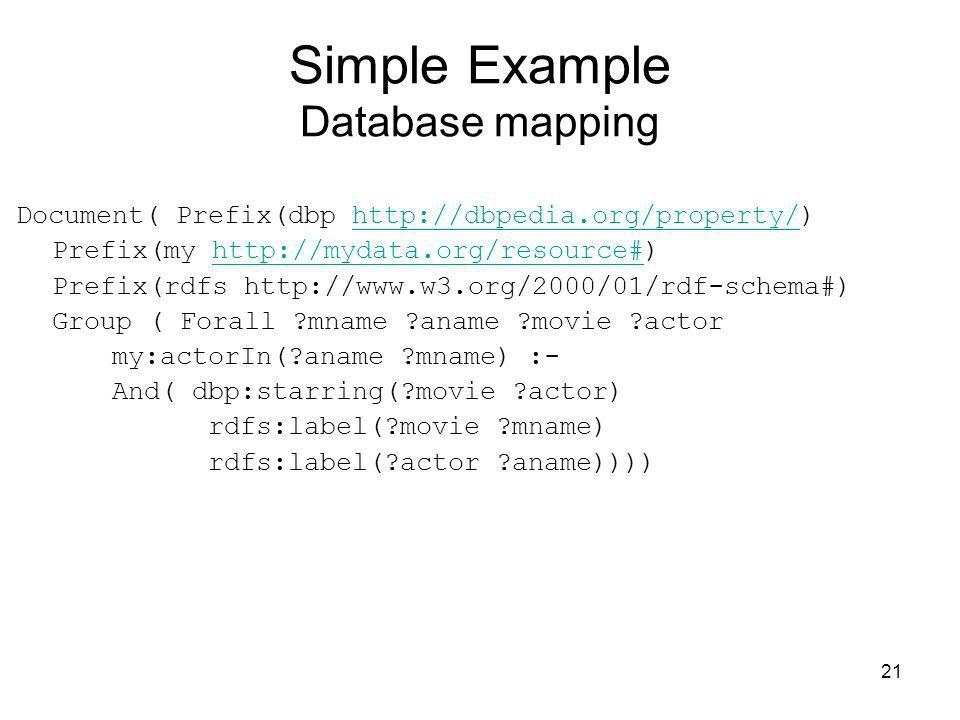 Simple Example Database mapping
