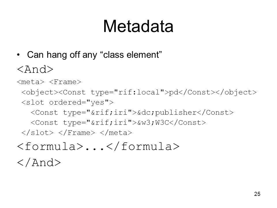 Metadata <And> <formula>...</formula> </And>