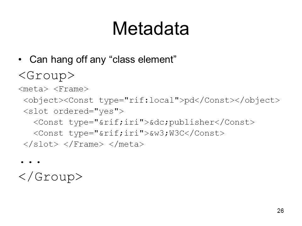 Metadata <Group> ... </Group>