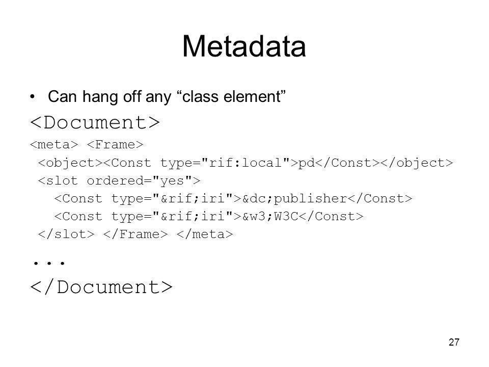 Metadata <Document> ... </Document>