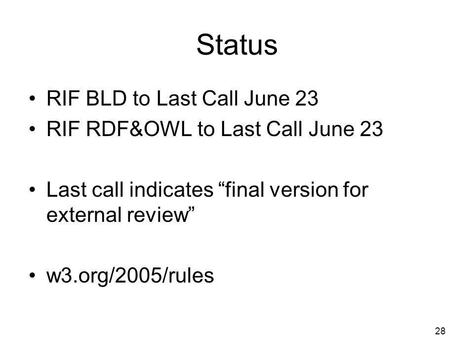 Status RIF BLD to Last Call June 23 RIF RDF&OWL to Last Call June 23