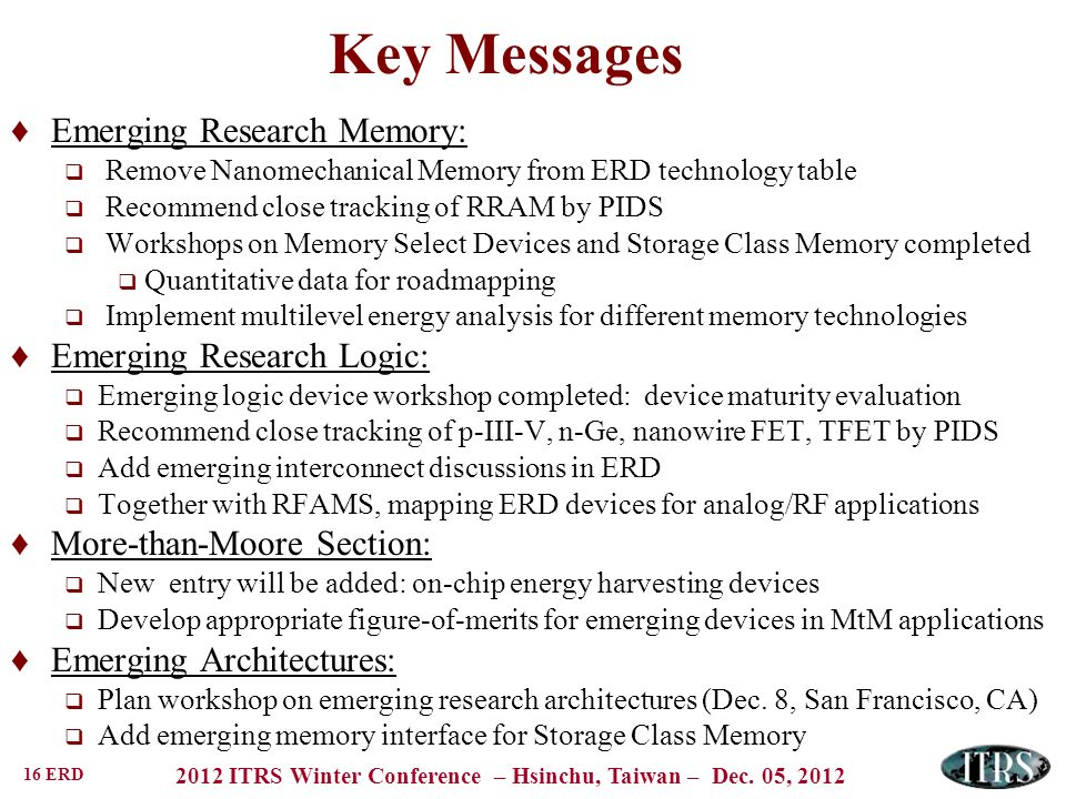 Key Messages Emerging Research Memory: Emerging Research Logic:
