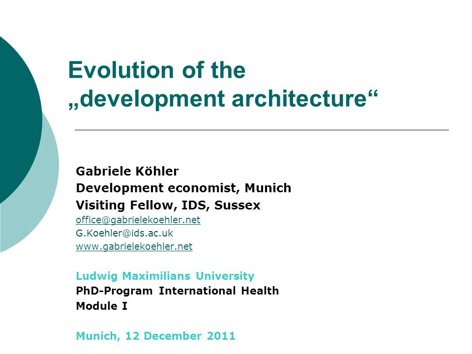 """Evolution of the """"development architecture"""