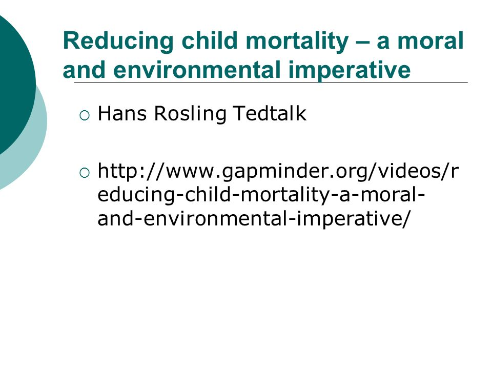 Reducing child mortality – a moral and environmental imperative