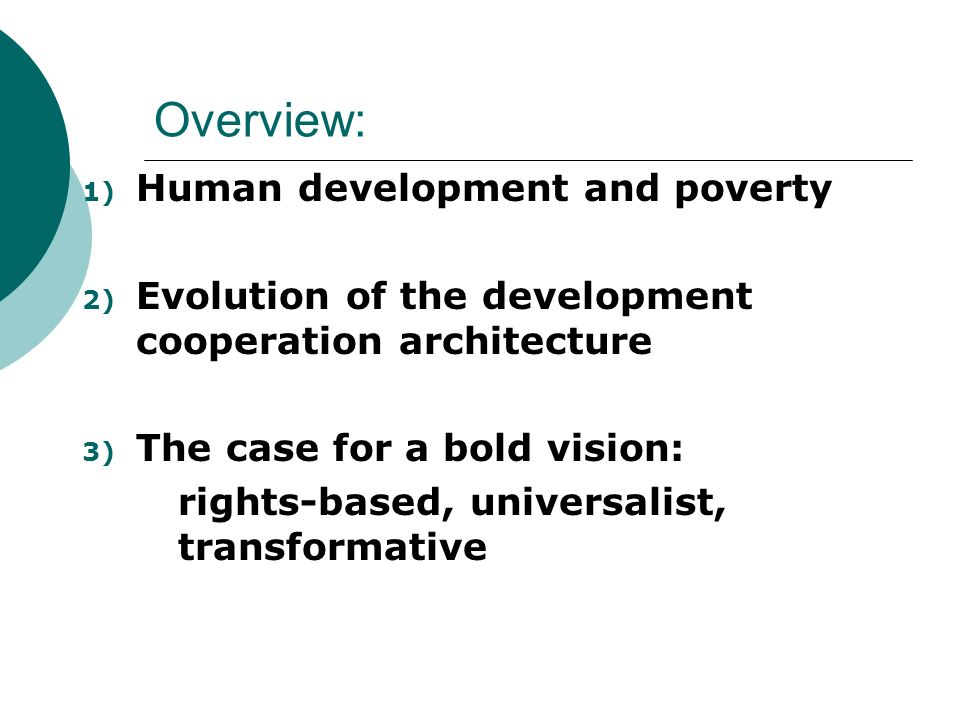 Overview: Human development and poverty