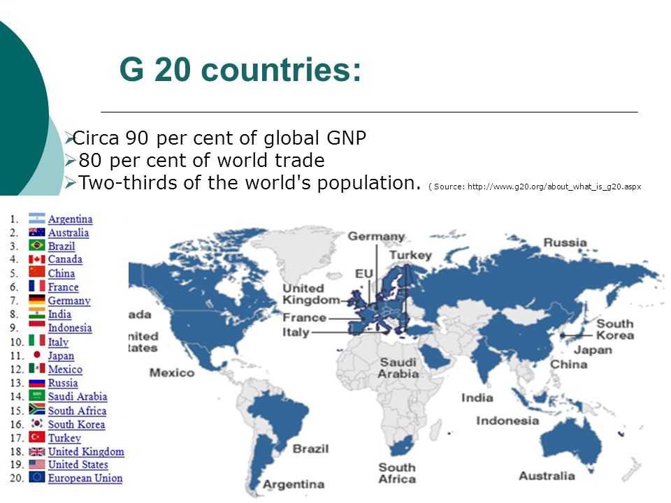 G 20 countries: Circa 90 per cent of global GNP